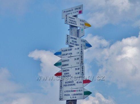 Horní Malá Úpa - polský turistický rozcestník v sedle Pomezní Boudy