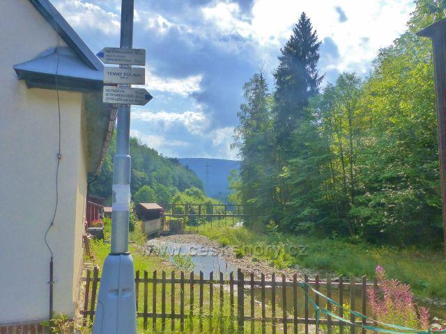 """Horní Maršov - turistický rozcestník """"Temný Důl(bus), 595 m.n.m."""" nad řekou Úpou"""