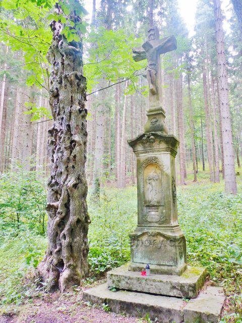 Žacléř - Andresův kříž (rodáka z Rýchor) z roku 1901 u silničky k horské chatě Ozon