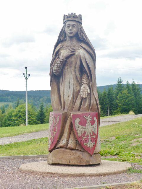 Žacléř - Stachelberg, socha Elišky Rejčky pod rozhlednou Eliška