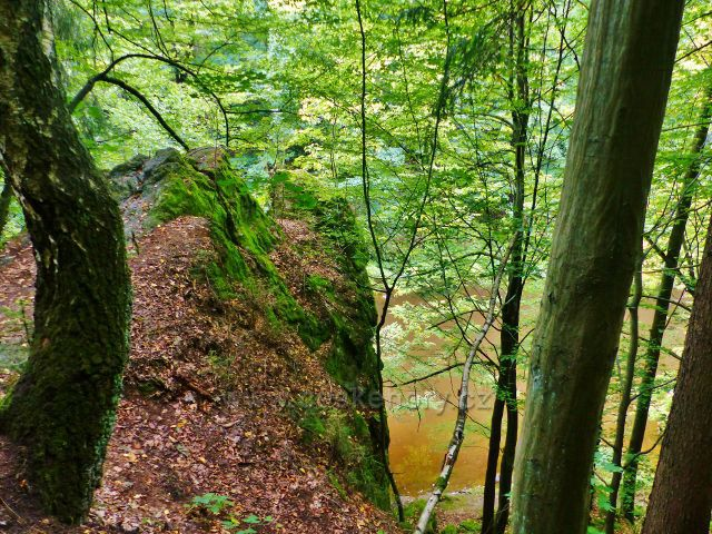 Semily - Riegrova stezka. Skalní stěna nad Jizerou v PR Údolí Jizery