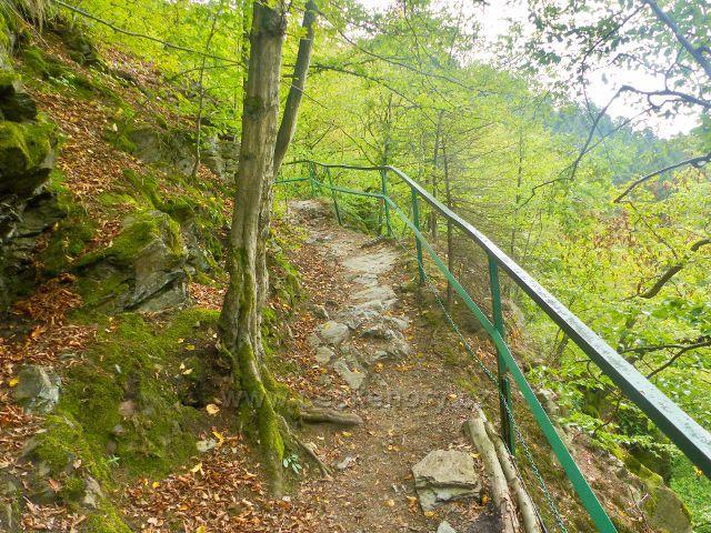 Semily - zábradlí na Riegrově stezce nad Bohmovo vyhlídkou v PR Údolí Jizerxy