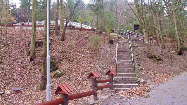 Kletno - schody od Medvědí jeskyně k silničce