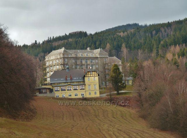 Jeseník, Muzikantská stezka - pohled na Vídeňskou kavárnu a Priessnitzovo sanatorium