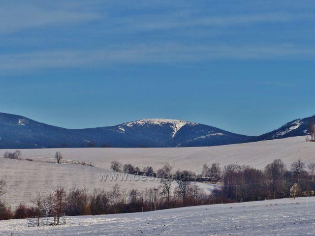 Králíky - pohled ze silničky V Aleji na Králický Sněžník (1424 m.n.m.)