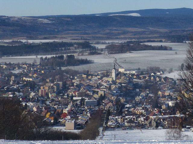 Králíky, Mariánská hora - pohled od kláštera Hedeč na střed města Králíky