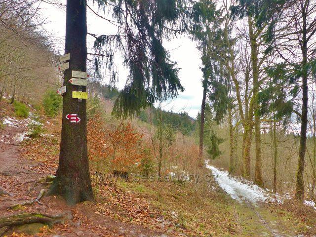 """Jestřebí hory - turistický rozcestník """"Pod Pasekou 635 m.n.m.""""na cestě bratří Čapků z Markušovic do Malých Svatoňovic"""