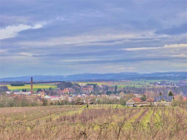 Doudleby nad Orlicí -pohled k hřebenu Orlických hor ze silnice k Vrbici