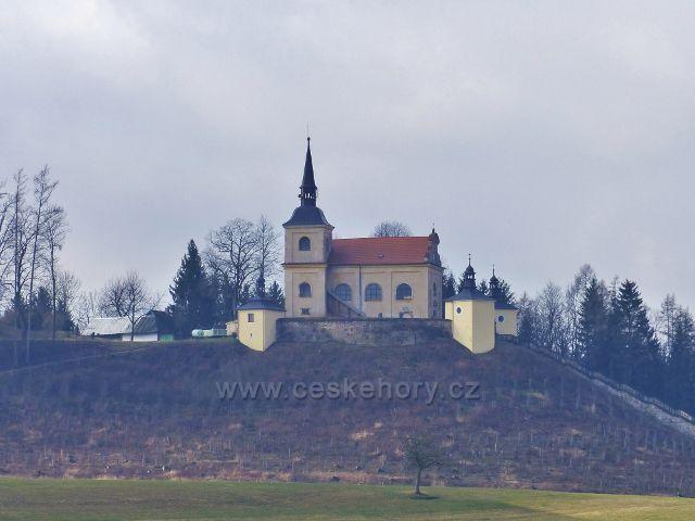 Malá Lhota - kostel Panny Marie Pomocné na návrší Homol(přiblížený pomocí fototechniky)