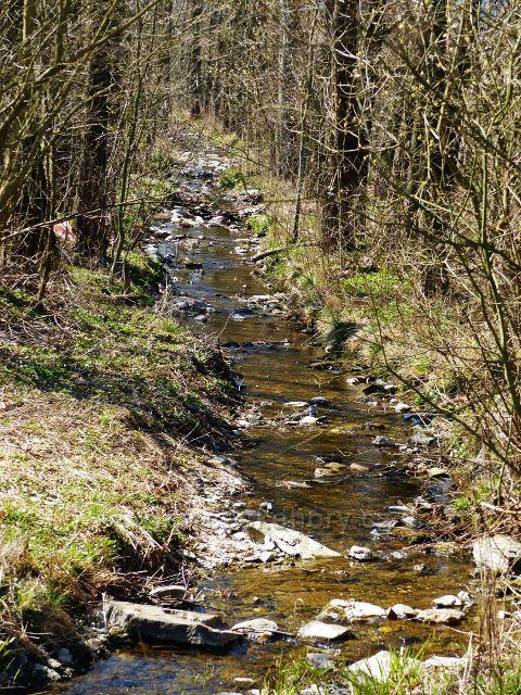 Helvíkovice - název potoka Kameničná je docela výstižný