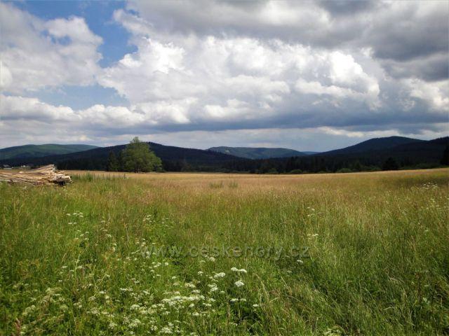 Masiv Příčného vrchu, Zámecký pahorek, Jelení hora a Zámecký vrch od Rejvízu.