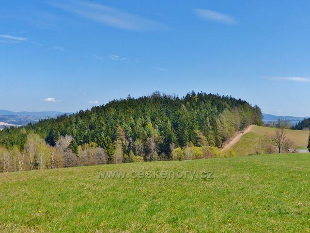 Česká Rybná - pohled z Prajska na vrch Přím (523 m.n.m.)