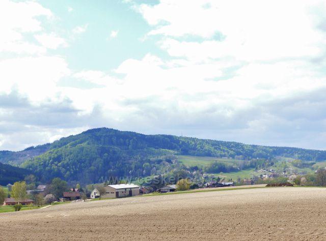 Pohled od cesty do České Rybné k Bohousové a na hřeben litického Chlumu