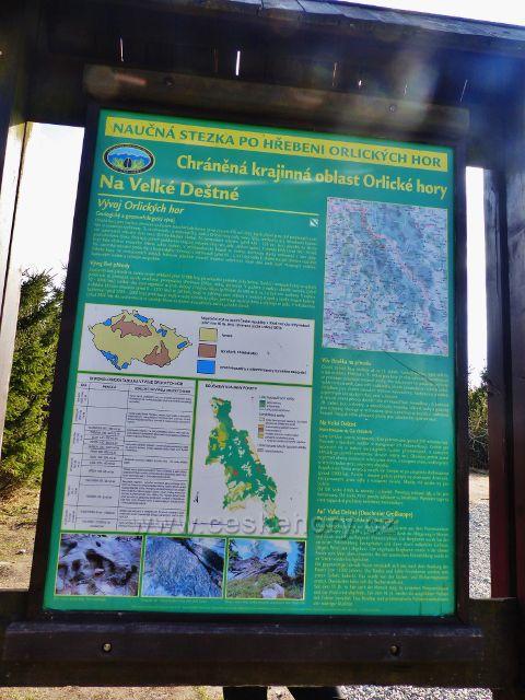 Panel CHKO Orlické hory Na Velké Deštné pod rozhlednou