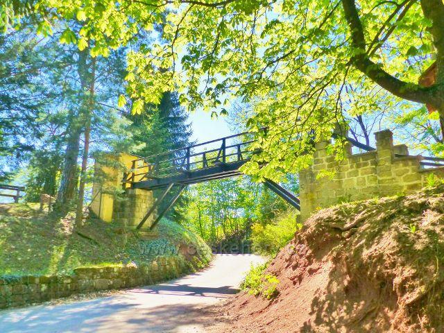 Mostek do arboreta v zámecké zahradě na Žampachu