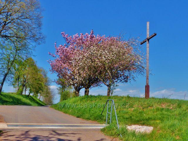 Dřevěný kříž u cesty po zelené TZ z Písečné do Žamberka