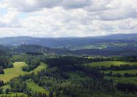 Panoráma Šumavy z rozhledny na  Sedle