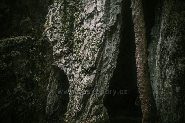 NPR Býčí skála, vstup do jeskyně Kostelík