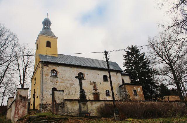 Niemoow - kostel Navštívení Nejsvětější Panny Marie je obklopen starým, ale dosud funkčním hřbitovem obehnaným zdí.