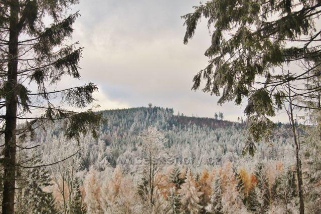 Niemojów - pohled z lesní cesty po černé TZ k rozhledně na vrchu Czerniec (841 m.n.m.)