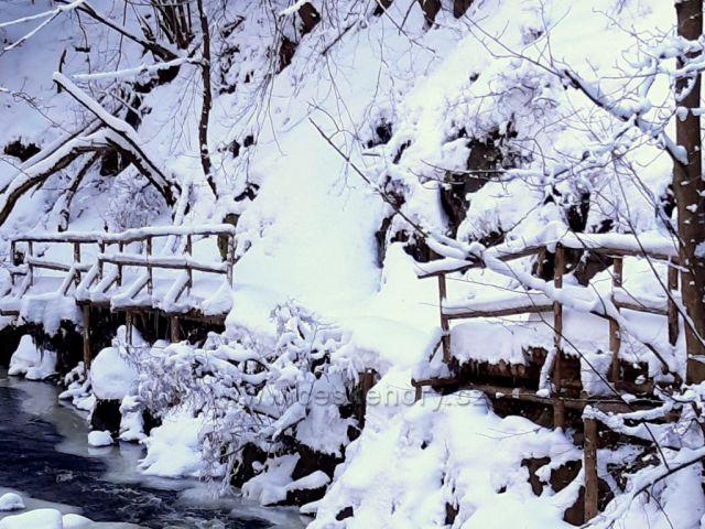 Chomutov, zasněžená stezka v Bezručově údolí