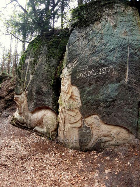 Brniště, sochy ve skalách - Svatý Hubert