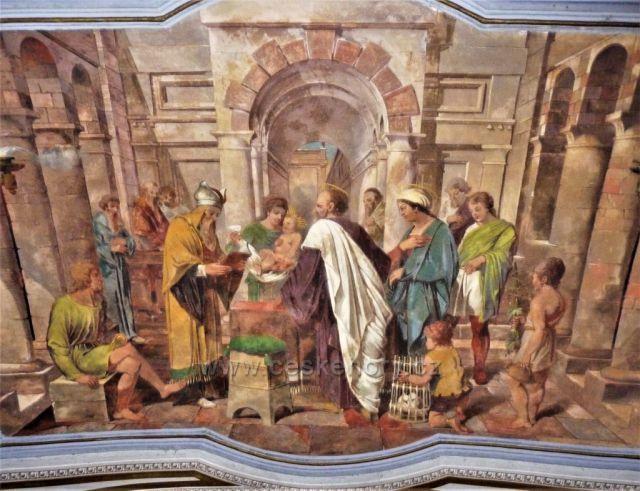 Nástěnná výmalba nad vnitřním vchodem poutní kaple Narození P. Marie