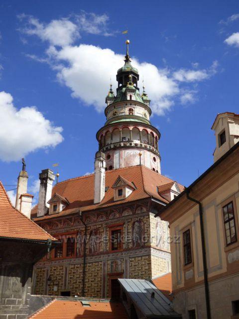 Detail zámecké věže - Český Krumlov