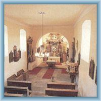 Interiér kostela v Nicově