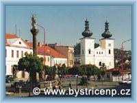Bystřice nad Pernštejnem - Sloup Panny Marie a kostel sv. Vavřince